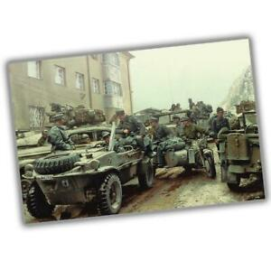 War-Photo-Surrendered-German-troops-and-vehicles-WW2-Glossy-Size-034-4-x-6-034-inch-S