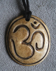 HandCarved-Hindu-Sanskrit-OM-Bone-Pendant-on-Black-Cord-Handmade-in-Nepal