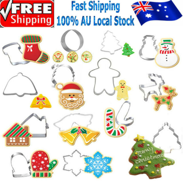 14pcs Stainless Steel Cookie Cutter Biscuit Mold Christmas Cake Mould Cutters 6J