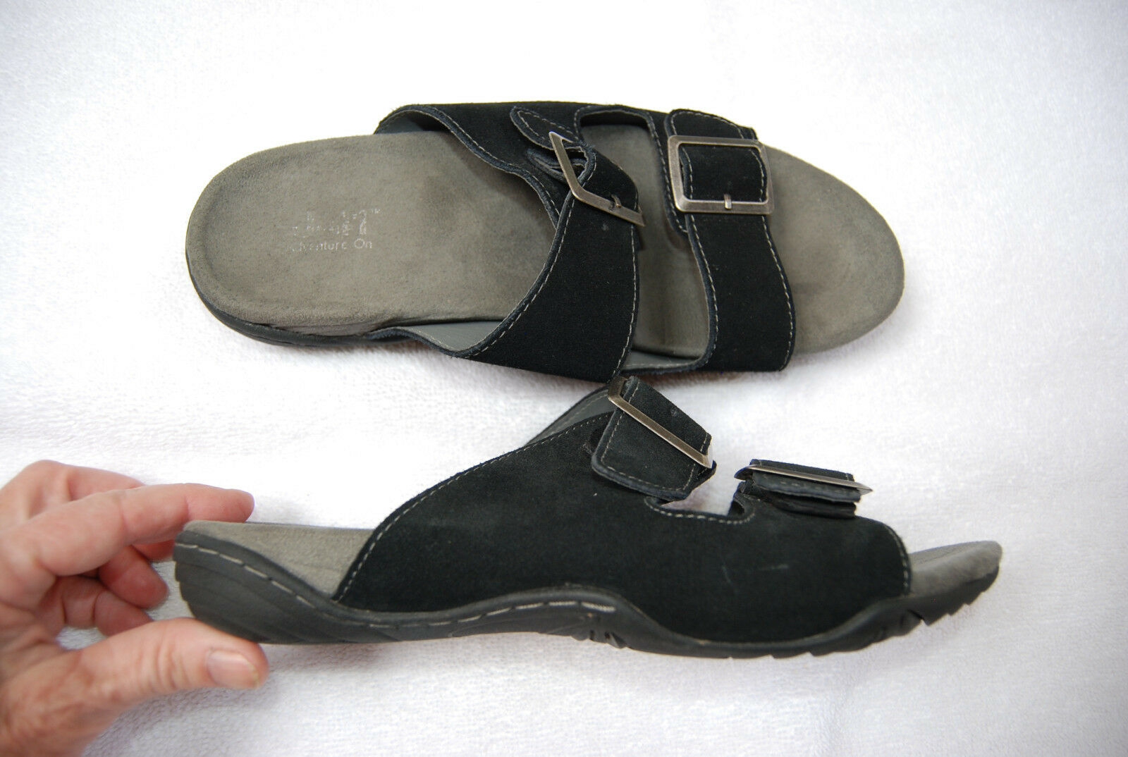 Black Sueded Leather J-41 ADVENTURE Sandals ON Double Strap w/Buckles Sandals ADVENTURE 8 M 491787
