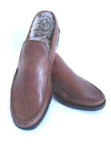 Hartt-Moc-039-s-Men-039-s-Brown-Textured-Leather-Moccasins-Hand-Sewn-Bench-Made-NWOT