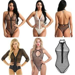 Women Crotchless Leotard Bodysuit Teddy Thong Lingerie Sheer Jumpsuit Romper