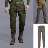 Men Outdoor Army Waterproof Combat Cargo Trousers Military Pants Multi Pockets