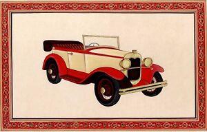 Royal-Vintage-Car-Handmade-Indian-Miniature-Artwork-On-Paper-Painting