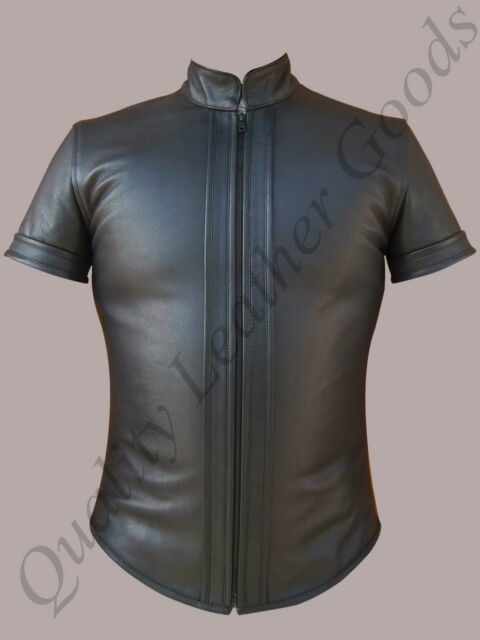 GENUINE LEATHER MILITARY POLICE UNIFORM SHIRT FRONT ZIP NEW BLUF STRAIGHT COLLAR