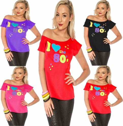Womens I Love The 80s T-shirt Outfit Ladies Pop Star Retro Top Fancy Dress