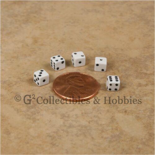 NEW 5mm 100 White w Black Pips Mini Dce Set RPG Game Miniature Tiny 3//16 inch D6