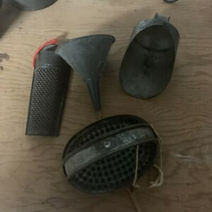 Lot-Of-4-Vintage-Primitive-Metal-kitchen-utensils-Graters-amp-Funnel-amp-Scoop