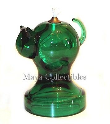 "ART Glass CAT Oil Lamp Modern MID CENTURY Spectacular  5"" Green"