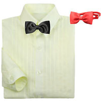 Baby Boy Kid Formal Tuxedo Suit Ivory Pleated Dress Shirt Red Black Bow Tie 0-7