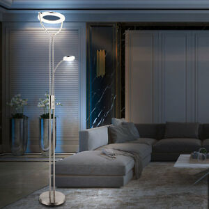 led lese lampe dimmbar 23 watt acryl ring decken fluter esszimmer steh leuchte ebay. Black Bedroom Furniture Sets. Home Design Ideas