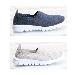 Womens Ladies Slip On Casual Walking Sports Trainers Comfort Woven Shoes Size