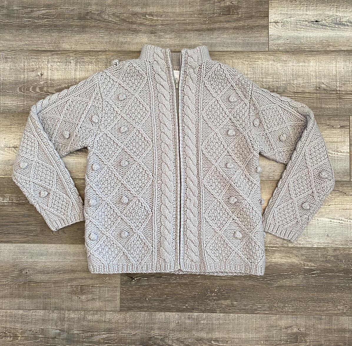 Hand Knit Gray Wool Crochet Chunky Knit Pom Pom F… - image 2