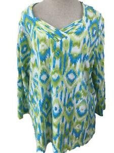Alfred-Dunner-Woman-knit-top-size-1X-blue-green-sequins-3-4-sleeve-V-neck