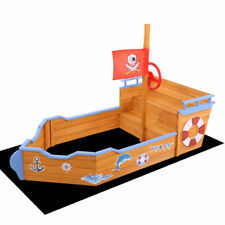 Keezi Kids Boat Sandpit Wooden Outdoor Play Sand Pit Toys Box Children Large