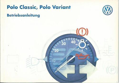 VW Polo Classic//Variant 3 manuale di istruzioni 1997 manuale bordo libro 6n BA