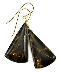 c593a4cf6 Image is loading 14k-Gold-Obsidian-Earrings-Black-Mosaic-Copper-Triangle-