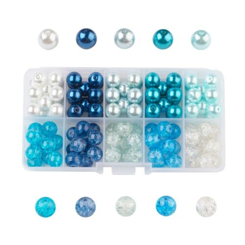 100pcs//Box Blue Tone Glass Beads Round Crackle Glass Pearl Loose Beads Kit 10mm
