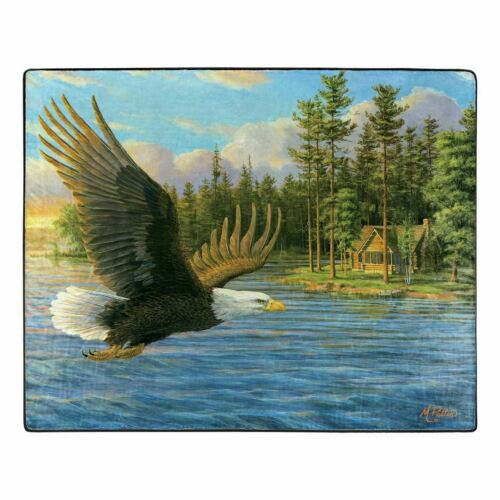 "American Heritage Royal Plush Raschel Throw Blanket Eagle Summer Domain 50 x 60"""