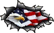 LARGE Carbon Fibre Fiber Ripped Torn Metal American Eagle & US Flag car sticker