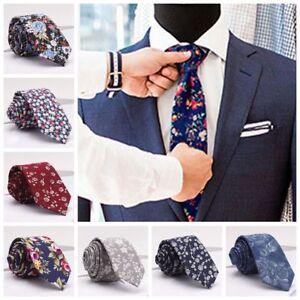 Les-Hommes-Cravates-Minces-Minces-Coton-Floral-Costume-Cravate-Beau-Cadeau