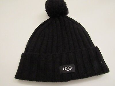 Nwt Ugg Black Color Knit Pom Cuff Beanie Hat For Women O S