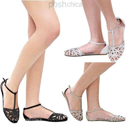 New Women FBe16 Laser Cutout Rhinestone T-Strap Mary Jane Ballet Flats Sandals