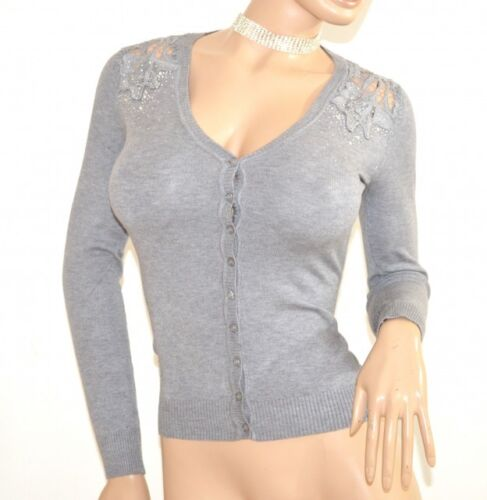 Broderie Manches Pullover F115 Femme Longues Maillot Cardigan Gris Chandail Pull FPpYt