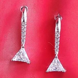 Fina-Art-Deco-Pendientes-Autentico-925-Plata-de-Ley-Circonio-Strass-Cristales