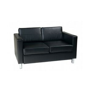 Black Leather Loveseat Faux Sofa Chair Office Condo Couch