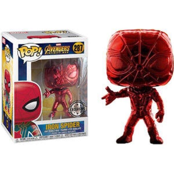 Rare Red Chrome Iron Spider Man Funko Pop Vinyl New in Mint Box + Predector