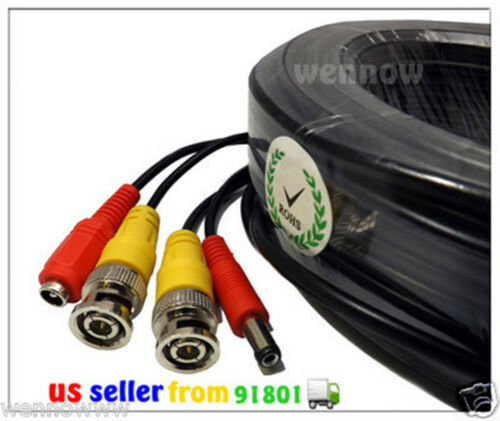 *Black 100ft Extension Power//Video Cable for Swann HD Security CCTV Systems Kit