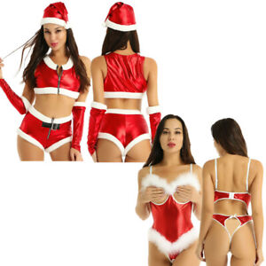 Sexy-Women-039-s-Christmas-Costume-Teddy-Bodysuit-Cosplay-Party-Outfit-Fancy-Dress