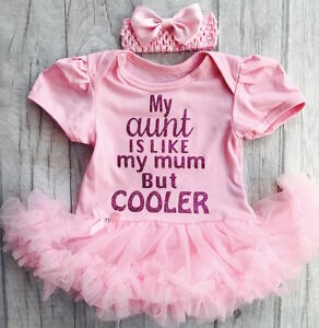 Baby Girls Aunty Quote Pink Tutu Romper Dress Newborn Princess Gift