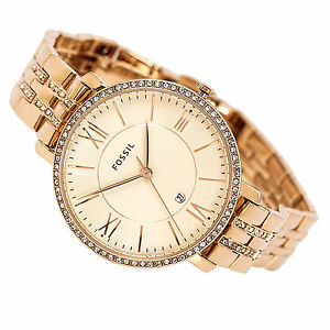 8641fb78ef1 Image is loading NEW-FOSSIL-JACQUELINE-ROSE-ROSE-GOLD-TONE-PAVE-