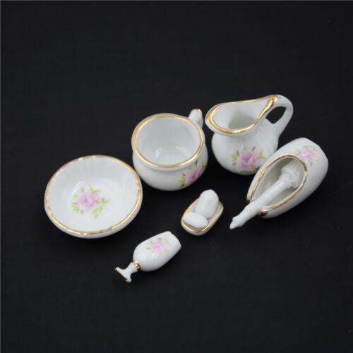8Pcs 1//12 Miniature Dollhouse Bathroom Accessories Set Floral Ceramic H/&P