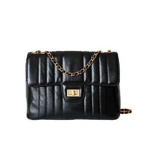Quilted Real Leather Chain Shoulder Bag Flap Envelope Messenger Rectangle Purse