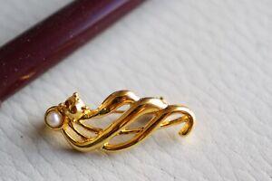 broche - 3 cm - métal doré et perle - neuf