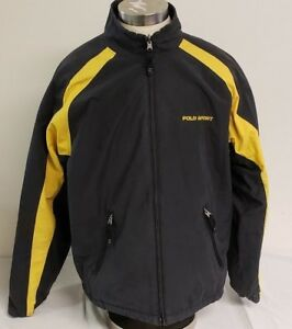 5129cb6e0b98 Image is loading Vintage-Polo-Sport-Reversible-Jacket-Black-Yellow-Spellout-