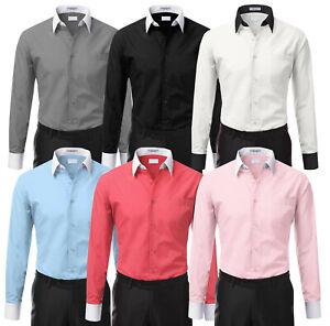 Men-039-s-Two-Tone-Italian-Style-Dress-Shirt-Stylish-Contrast-White-Cuffs-amp-Collar