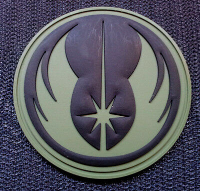 STAR WARS JEDI ORDER PATCH BADGE INSIGNIA rubber pvc 3D OD GREEN Hook BACKING