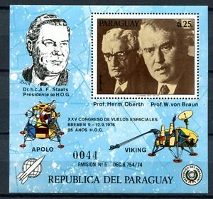 Paraguay-1976-Raumfahrt-Space-Oberth-von-Braun-Block-285-Postfrisch-MNH