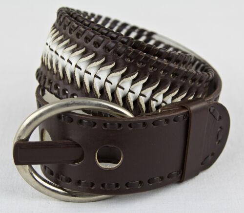Cintura da donna flechtoptik 2-COLORATI VERA PELLE BELT Braided two-coloured leather
