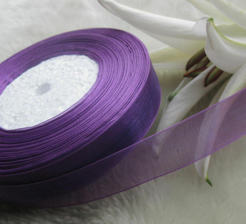 "10 Yards Organza Ribbon 6mm Violet Wedding Scrapbook Embroid 1/4 inch "" 9.15 Mtr"