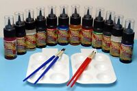 Glass Stain Paint Kit 1 Oz Jars Transparent Color 12 Stains 4 Brushes 2 Palettes