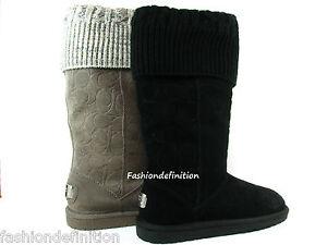 New-Women-Coach-GEORGIA-Signature-Embossed-Suede-Winter-Boots-Shoe-Black-Grey