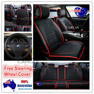 Image Is Loading Red Trim Universal PU Leather Car Seat Covers