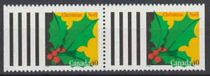 Canada-1588-40-Christmas-Holly-Pair-from-Booklet-MNH