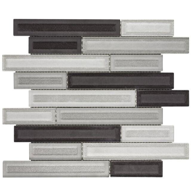 Modern Linear Black White Glass Mosaic Tile Backsplash Kitchen Wall Mto0325 For Sale Online Ebay