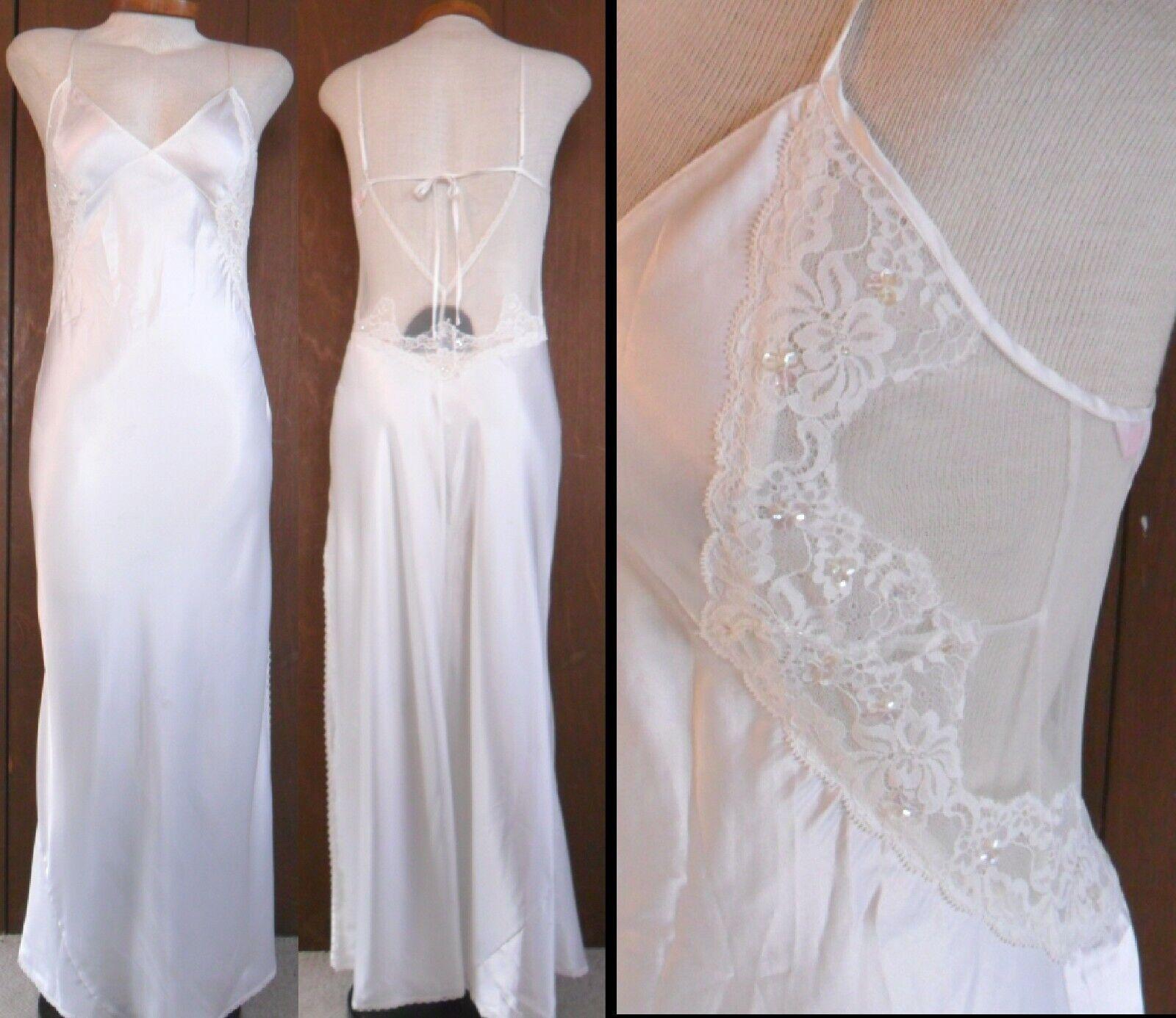 7d299c83dfae7 NEW Victorias Secret XS White Lace Long Nightgown Nightgown Nightgown  Sequins Gown Slip Extra Small 2c6b9b